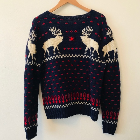 Sweaters - Handknit moose elk sweater navy women's L deer